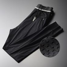 Mignlu メッシュ中空アウトパンツ男の高級絹のようなファッションスポーツアンクル丈パンツプラスサイズ 4xl スリムフィットメンズ足首パンツ