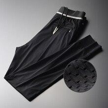 Mignlu Mesh Hollow Out Broek Man Luxe Zijdeachtige Mode Sport Enkellange Broek Plus Size 4xl Slim Fit Heren enkel Gestreepte Broek