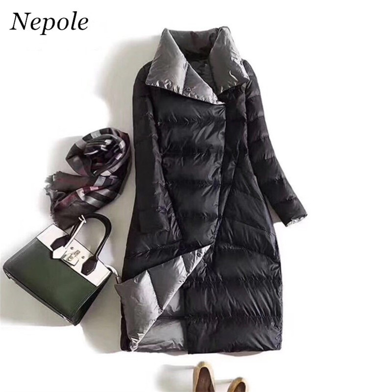 Neploe Both Sides Wearing Women Winter Down Jacket Stand Collar Long Women Winter Down Coat 2019 New Winter Solid Parkas 68667