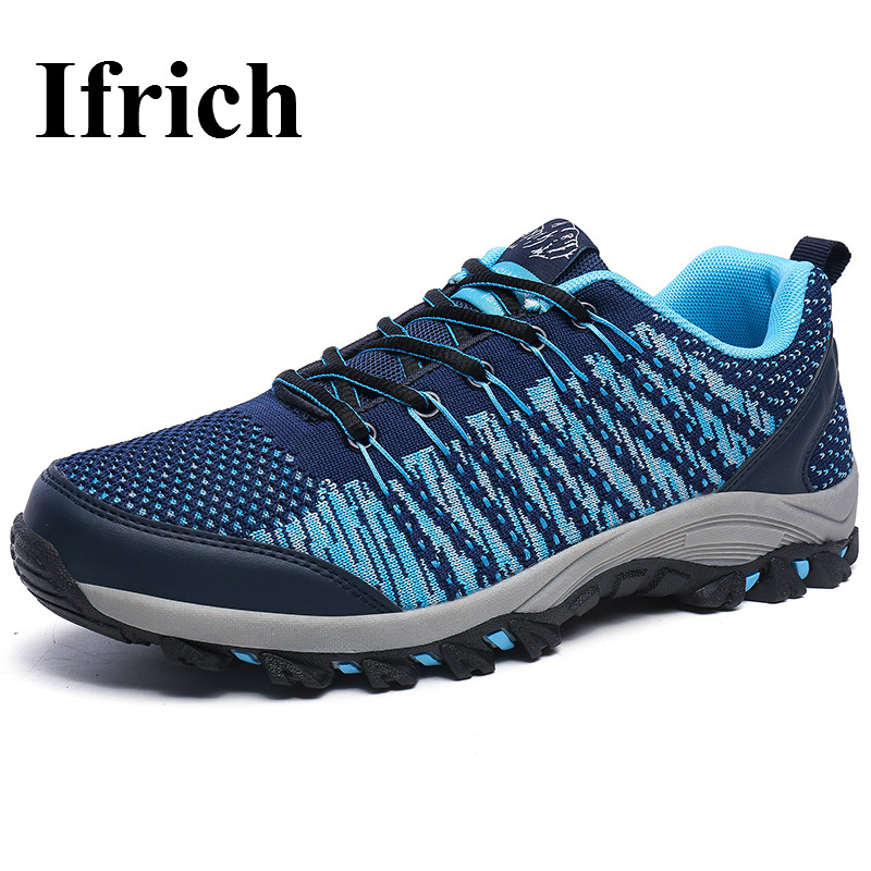 ФОТО Ifrich Men Hiking Shoes Walking Shoes Spring/Summer Outdoor Trekking Sneakers Mesh Breathable Travel Mountain Shoes