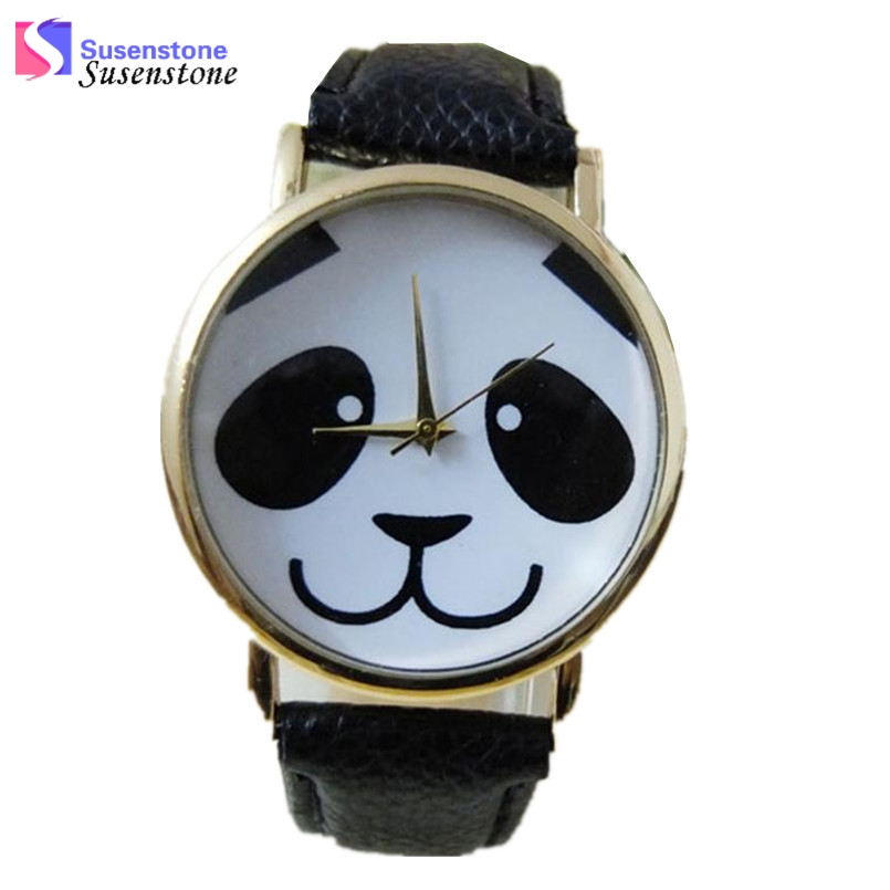 Cute Panda Pattern Watch Women Quartz Wrist Watches Fashion Faux Leather Band Ladies Casual Watch montre femme relogio feminino cute cat pattern women fashion watch 2017 leather band analog quartz round wrist watch ladies clock dress watches relogio time