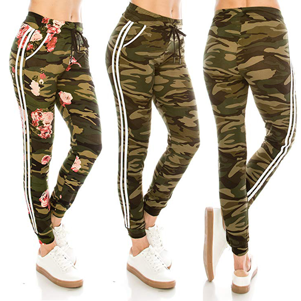 2019 New Women Joggers Tracksuit Bottoms Long Trousers Ladies Gym Jogging Sports Camouflage Pencil Pants