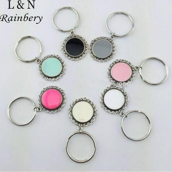 Rainbery 2016 New Fashion Enamel Disc Keychain for Monogram Antique Silver with Rhodium Disc Keychain