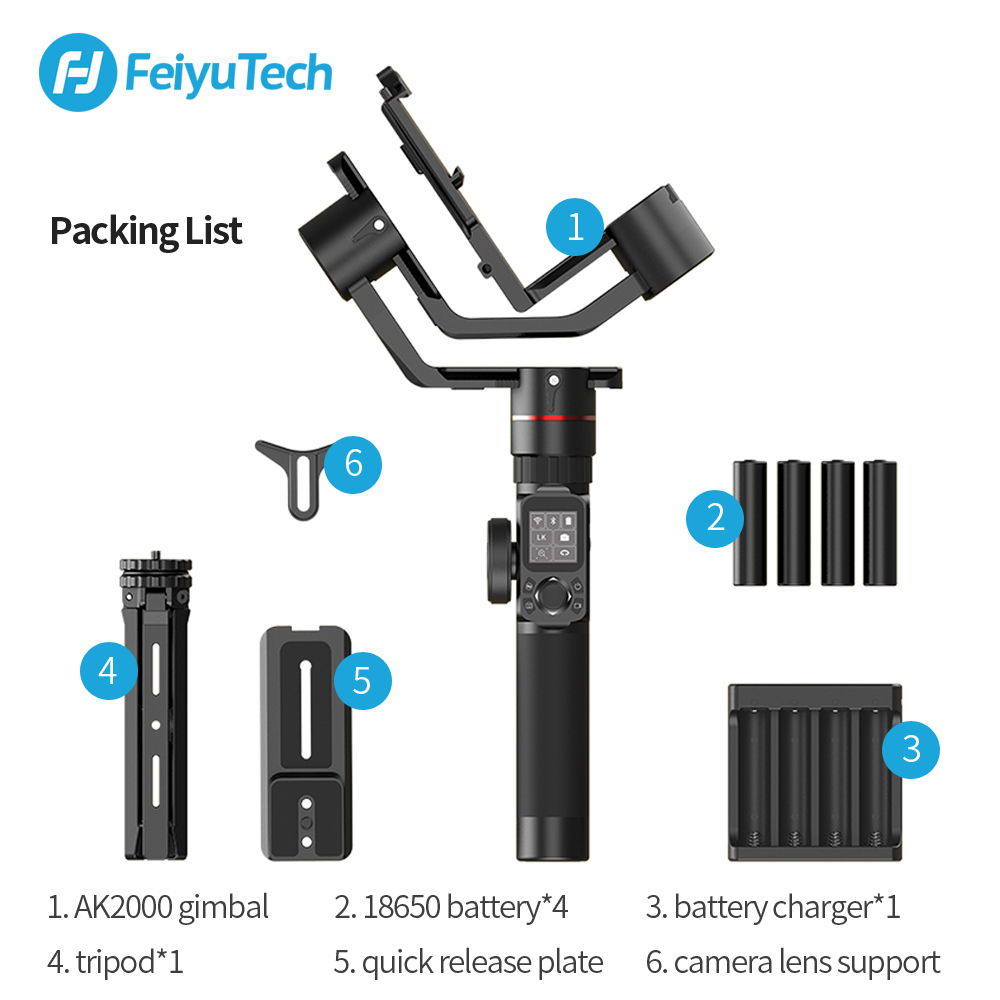 Image 5 - FeiyuTech AK2000 Handheld DSLR Camera Stabilizer Gimbal Video estabilizador for Sony Canon 5D Panasonic GH5 Nikon 2.8 kg Payload-in Handheld Gimbals from Consumer Electronics