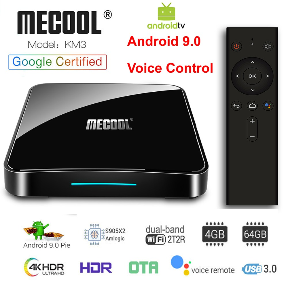 KM3 ATV Google Certified Android 9.0 Smart TV Box Voice Remote Amlogic S905X2 LPDDR4 4GB 64GB 5G Dual WIFI BT4.0 4K Set Top BoxKM3 ATV Google Certified Android 9.0 Smart TV Box Voice Remote Amlogic S905X2 LPDDR4 4GB 64GB 5G Dual WIFI BT4.0 4K Set Top Box