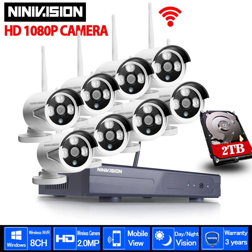 Casa Cctv di Sicurezza del Sistema DVR Senza Fili 8CH Kit CCTV HD 1080 p P2P IR di Visione Notturna Plug Play Video di sorveglianza Wifi Kit