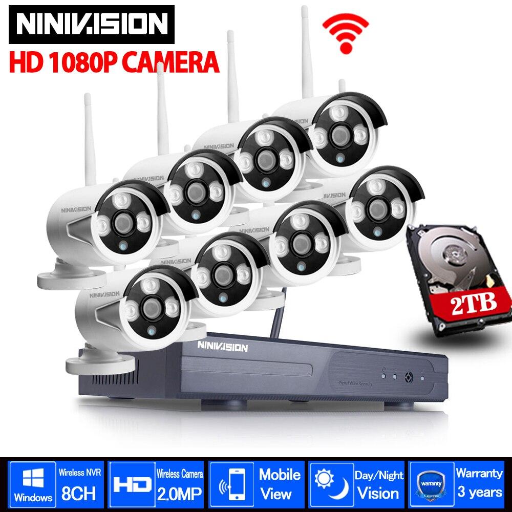 Sécurité à la maison Caméra CCTV Système Sans Fil DVR 8CH CCTV Kit HD 1080 p P2P IR Nuit Vision Plug Play Vidéo surveillance Wifi Kit
