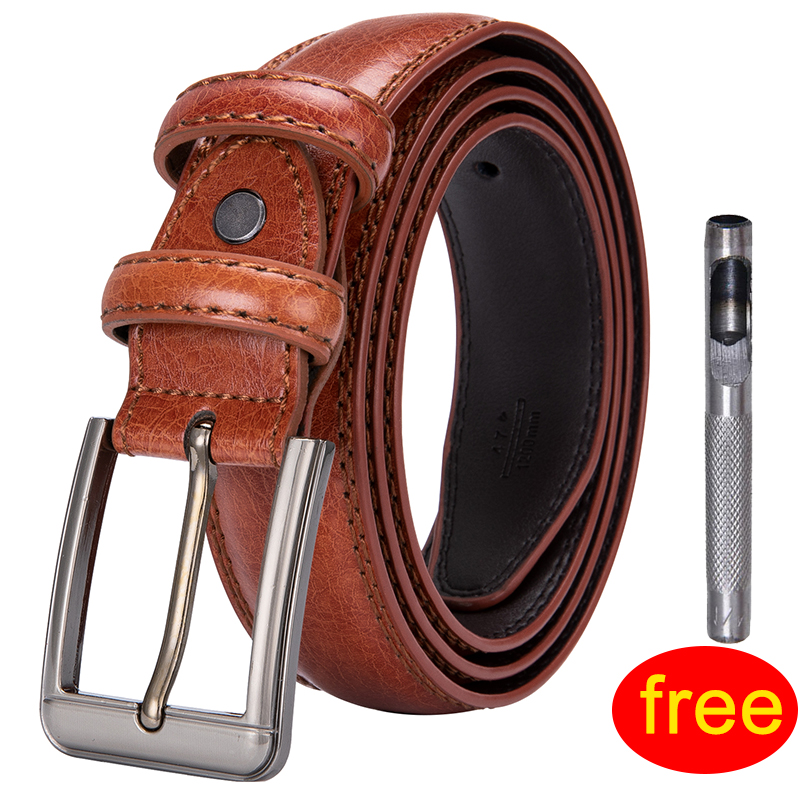 High Quality Mens Leather Casual Pin Buckle   Belt   for Men Orange Brown Leather   Belts   Men Vintage Style Design Pin   Belt   ZF-1007