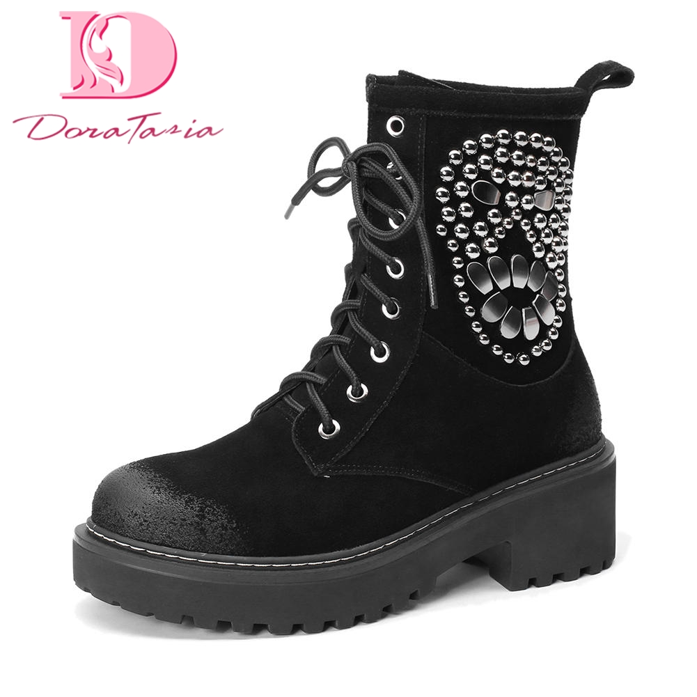 DoraTasia 2018 Brand Cow Suede Leather Lace Up Comfort Women Boots Shoes Woman Martin Boots Best Quality Women Shoes Female Boot стоимость