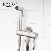 Frud Bathroom Bidet Sprayer Stainles Steel Wall Mount Shower With Hand Spray Toilet Spray Brushed Toilet Bath Room Washing Set