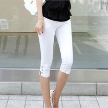 2017 Summer New Fahison Capris Casual Calf-length Pants Female Plus Size S-3xl Solid Color White Black Slim Women Pants