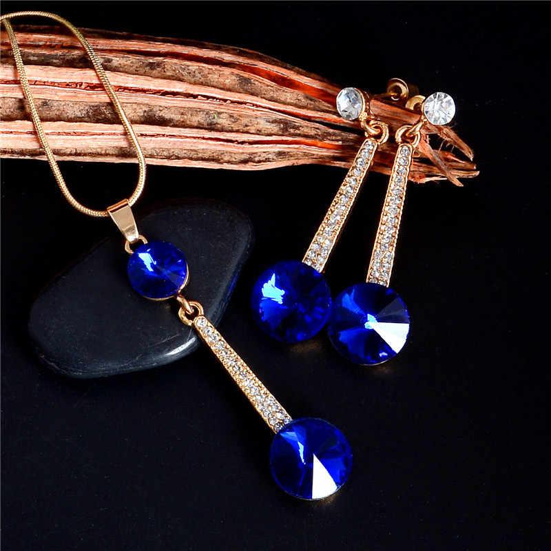 Austria Cubic Zirconia Cristalli Orecchini a pendaglio e Pendente Della Collana Set di Gioielli Per Le Donne di Cerimonia Nuziale Nuziale Dei Monili di Colore Oro