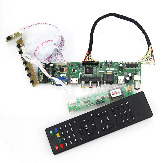 T. VST59.03 LCD/LED Controller Driver Board Para LTN154AT07 LP154WX5-TLA1 (TV + HDMI + VGA + CVBS + USB) Reutilizar Laptop LVDS 1280x800