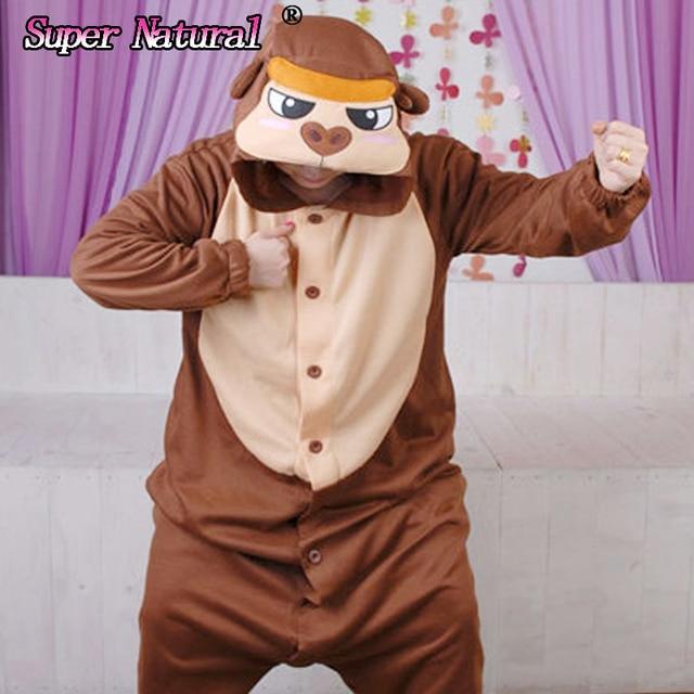 HKSNG Winter Warm Adult Animal Orangutan Pajamas Kigurumi Onesie Cosplay  Gorilla Costume Homewear For Christmas Party 60e824212df96