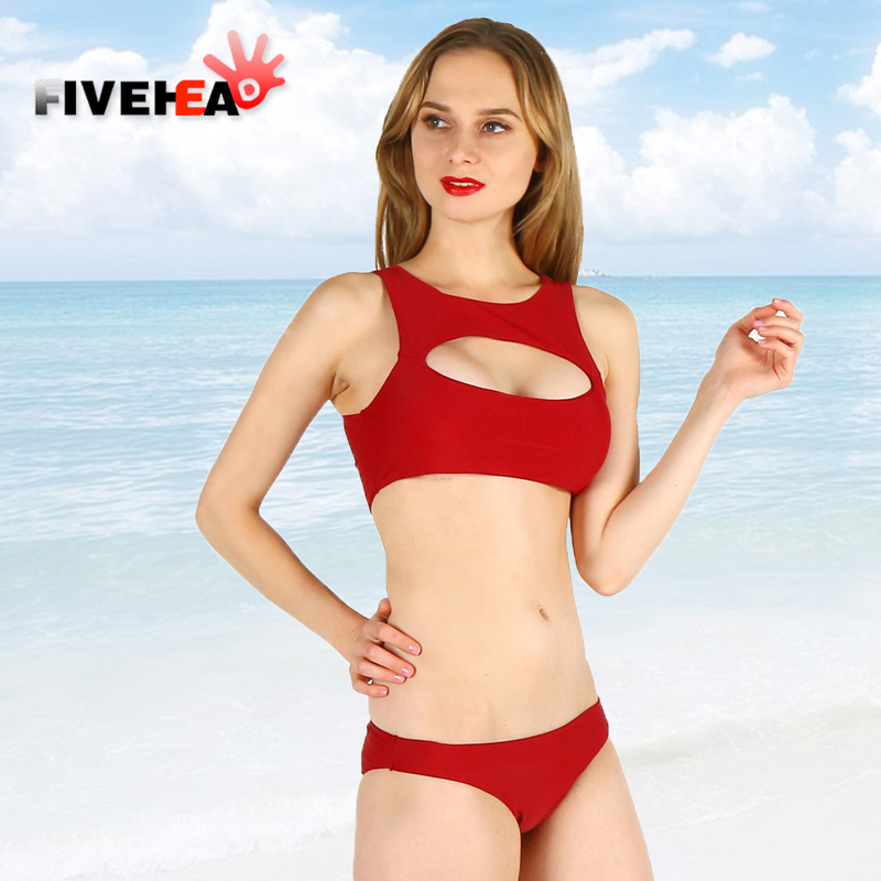 bikini women swimwear sexy low waist halter deep v solid color red large size two piece bathing swimsuit biquini fire hot trendy halter solid color one piece swimwear for women