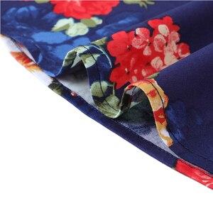 Image 5 - OTEN 4XL プラスサイズ夏の女性のヴィンテージレトロな 50s キャップスリーブ O ネック花フラワーレモンプリントロカビリーピンアップスケータードレス