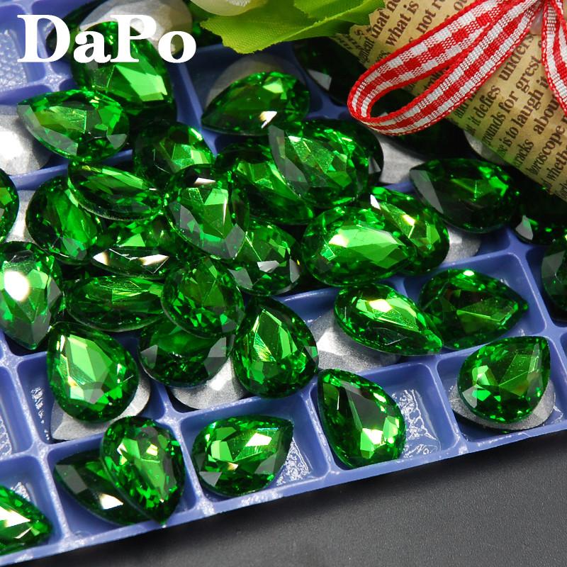 2017 New Emerald Color Point Back Teardrop Shape Glass Crystal Fancy ... 72f4345656c4