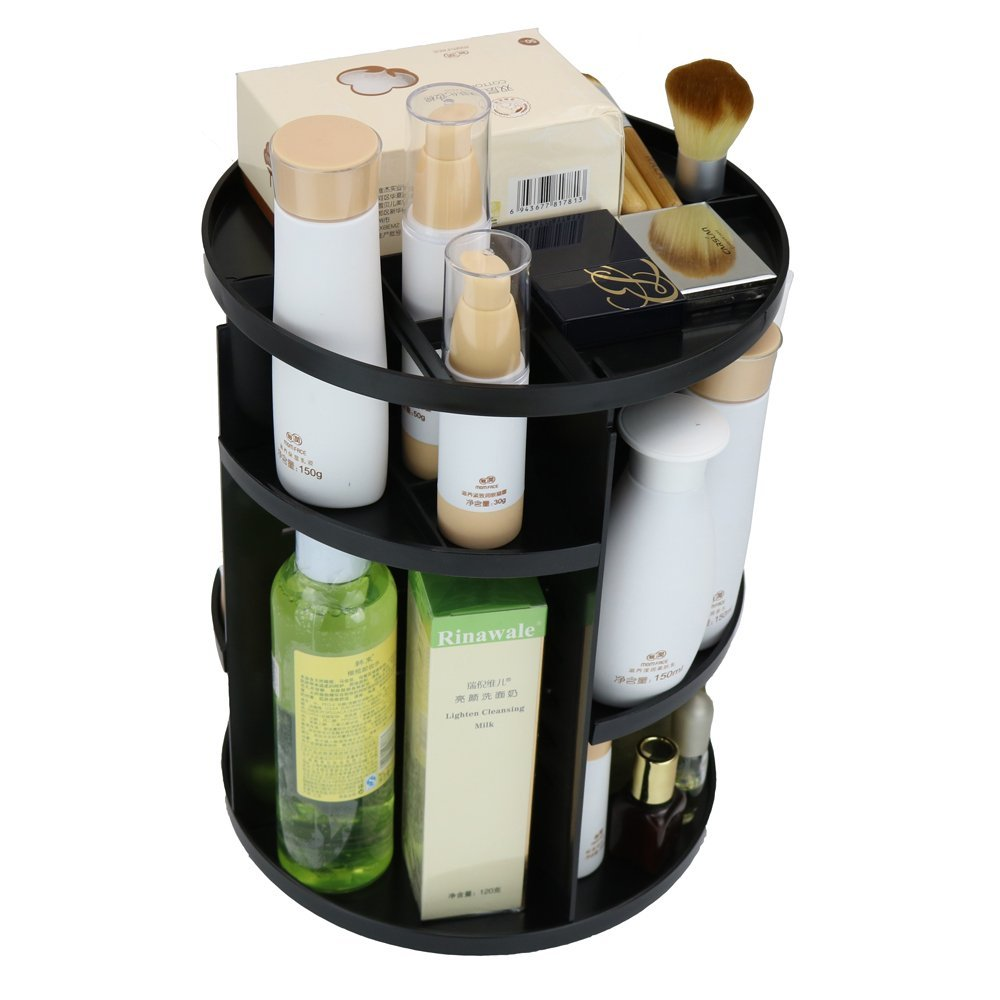 360 Degree Rotation Cosmetic Plastic Storage Box Makeup Jewelry Storage organizer Rotating Cosmetic bin Lipstick Holder