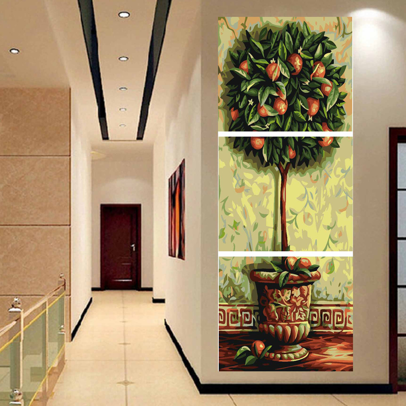 Oil Painting By Numbers Triptych Canvas Wall Paintings Set In The Living Room Home Decor Diy Digital Painting Orange Tree A045