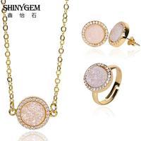 Fashion 10mm Wedding Gold Plating Sieraden Set Pave Zirconia voor Vrouwen Natuursteen Druzy Agaten Ketting Oorbellen Ring