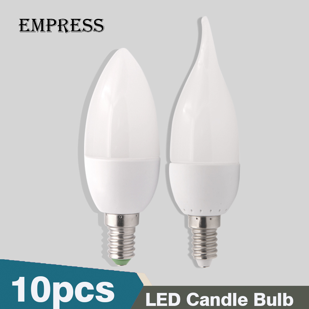 10pcs E14 Led Candle Light Bulb 220V Energy Saving Bulb Lamp LED Bombilla Decorativas Ampoule Led Lamps 3W Led Lights for Home enwye e14 led candle energy crystal lamp saving lamp light bulb home lighting decoration led lamp 5w 7w 220v 230v 240v smd2835