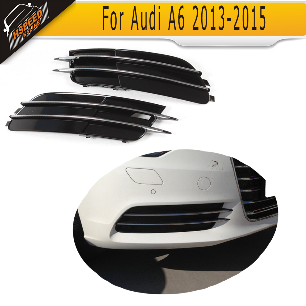 auto car front fog lamp cover fog light mask Grill Grid for Audi A6 Standard Only 2013 - 2015 Non S6 front bumper fog lamp cover abs fog light mask cover grill grid with led light grille for audi for a6 c7 2013