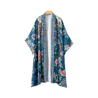 Women Floral Print Boho Long Kimono Cardigan Blouse Shirt Loose Casual Beach Summer Holiday Elegant Cover Up Shawl Bohemian Top
