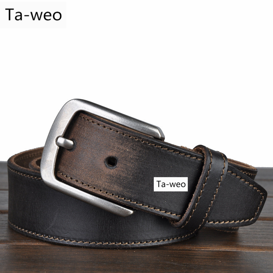 Fashion Retro Casual Mens 100% Leather Belts High Quality Pin Buckle Belts For Jeans Belt Width 3.8CM In Black & Brown