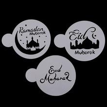 3 pcs Eid Mubarak Cookies Stencil Ramadan Moslim Koffie Cake Stencils Template Koekjes Fondant Schimmel Taart Decoreren Gereedschappen