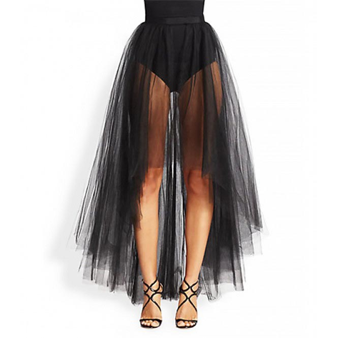 d5c567b1eb Asymmetrical Skirt Front Short Back Long Sheer Tulle Sexy Black Long Skirt
