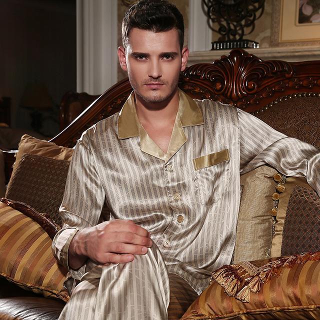 YIER Marca dos homens 100% de Seda Homens Sleepwear Conjuntos Pijamas Calças de Pijama Longo-Luva Dos Homens 100% De Seda Pijamas Set Loungewear Roupas