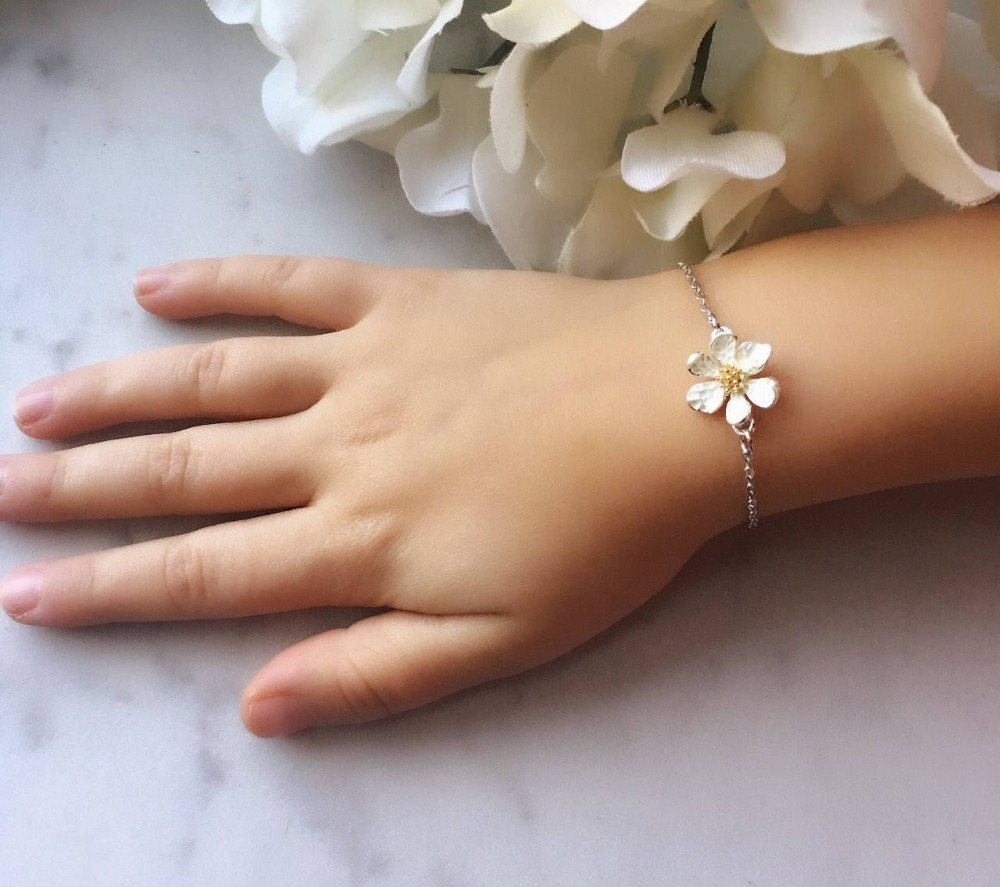 Bridesmaid flower girl First Holy Communion 1st gift personalised bracelet