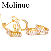 Molinuo fashion AAA rectangular cubic zirconia jewelry set shiny delicate golden color ladies exquisite cz