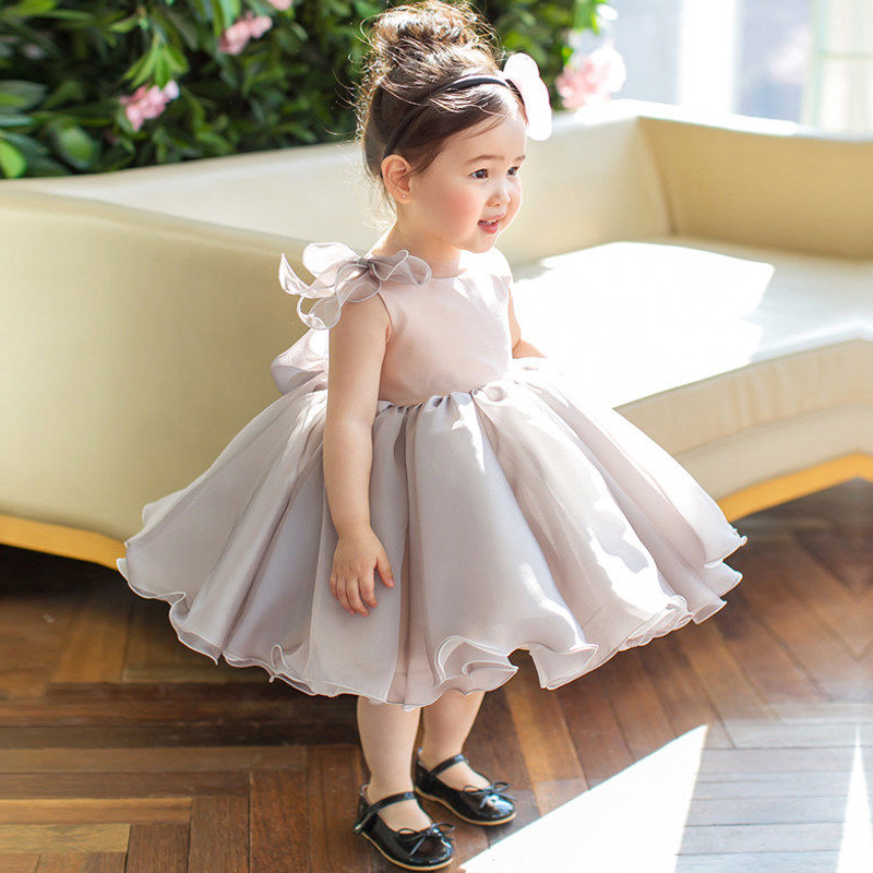 Appliques Girl's Summer Dress Baby Flower Girls Dresses Knee-Length Princess Dress Children Ball Gown Evening Party Gown E261 jioromy big girls dress 2017 summer fashion flower lace knee high ball gown sleeveless baby children clothes infant party dress