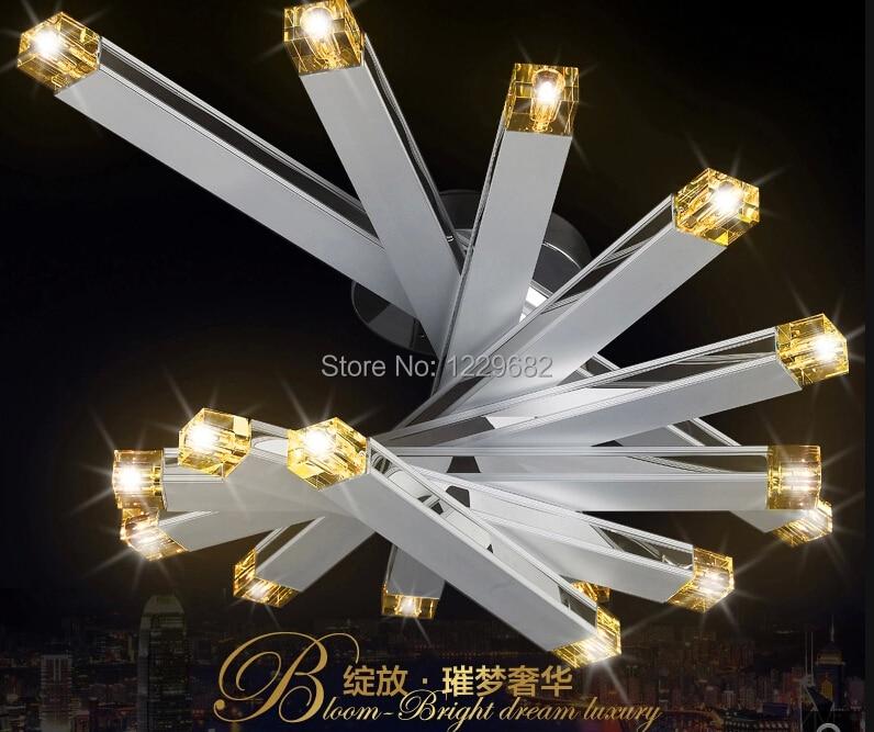 2014 Modern sky Aluminum crystal ceiling chandelier lustres lights for hotel restaurant ceiling decorative foyer bed room lamps