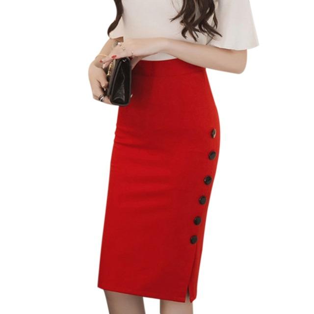 Moda Otoño Invierno 2017 Mujeres Midi Falda Delgada OL Sexy Abierta Botón de hendidura Falda Lápiz Delgado Señoras Elegantes Faldas Plus Size jupe