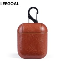 Genuine Leather Hook Case For AirPods Vintage Matte For Apple Airpods Luxury Protective Storage Bag Black Brown Drop shipping цена