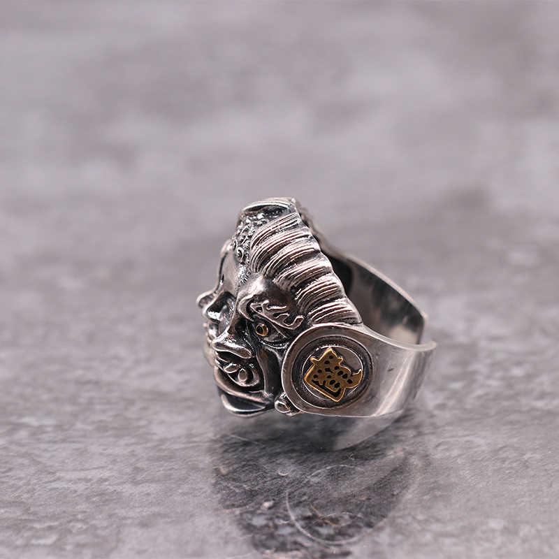 SOQMO סטרלינג 925 כסף Mens טבעות דת בודהיסטי להתפלל גברים טבעת מתכווננת גודל בודהה שטן בציר תכשיטי SQM110