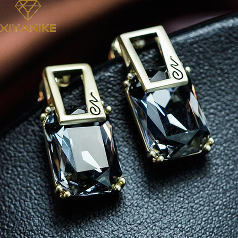 XIYANIKE New Geometric Square Crystal Stud Earrings For Women Fashion Gold Color Earring Party Jewelry Accessories Brincos E285