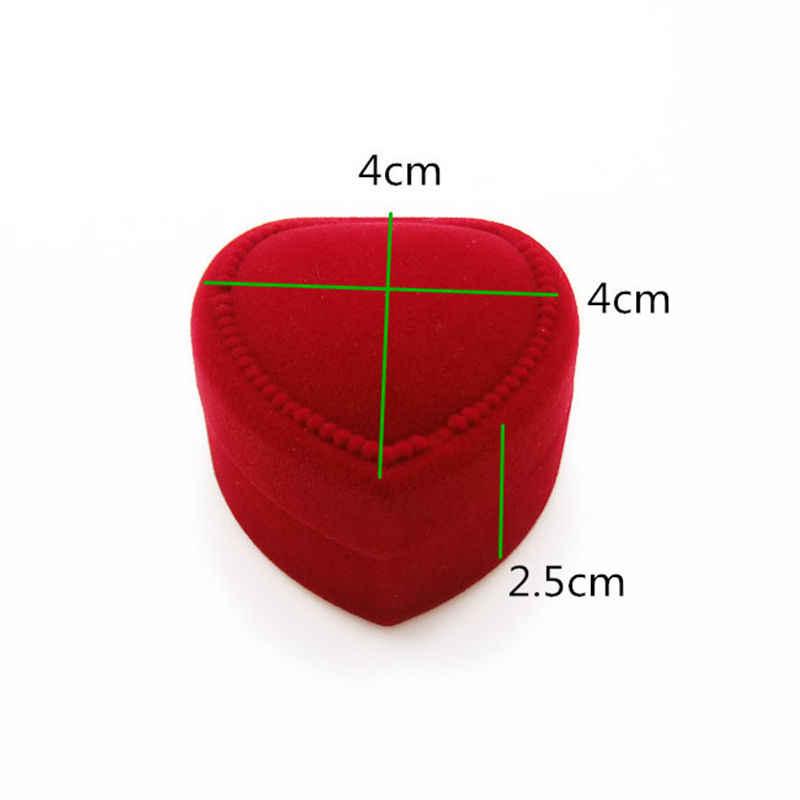 1PC 4*4*2.5cm Fine Jewelry Box Display Storage Foldable Case Red Engagement Heart Velvet Ring Box Organizer