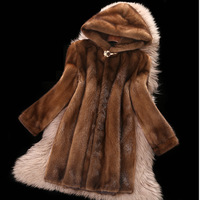 S 6XL Europe and America High imitation mink fur Coat Furry Hooded Overcoat female Mid long Faux fur Coat Women Winter Clothes