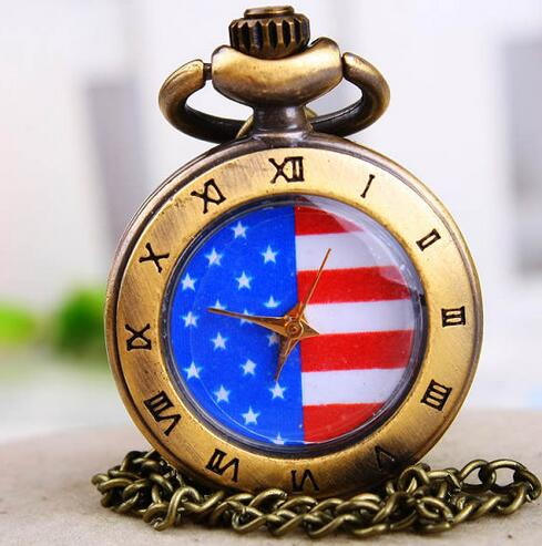 New Fashion Quartz American Flag Roman Numerals Pendant Necklace Pocket Watches Gift