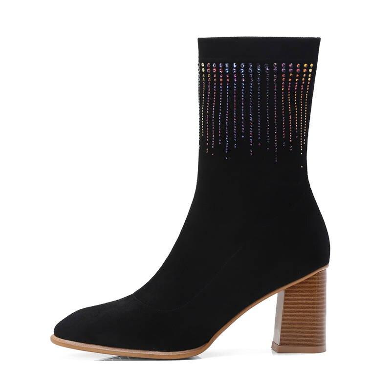 Chaussures Top Chaussettes Cristal 2018 Femmes Qualité Morazora Carré Talons Automne À Femme Robe Stretch Pour Noir Cheville Bout Hauts coffee Bottes MqUzVpGS