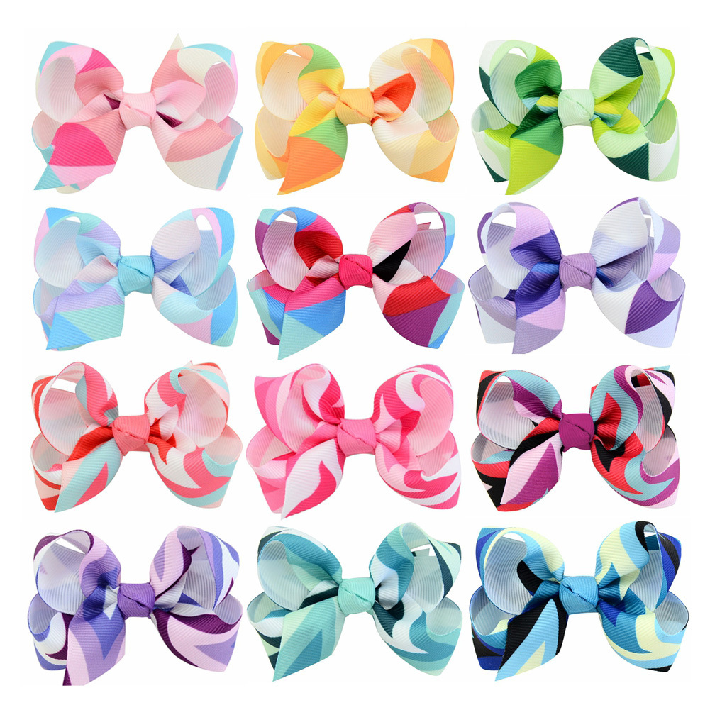 New 12 Pcs Assorted Girls Bownot Hair Clips Kids Handmade Rainbow Unicorn Colors Ribbon Hair Bows Hairpins Hairgrip for Children
