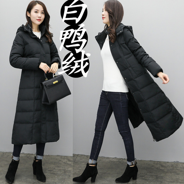 089b497bc168 Womens Long Down Jackets Hooded Knee Length Winter Duck Down Coats Women  Thick Snow Wear Female Down Parkas Overcoats JK-708