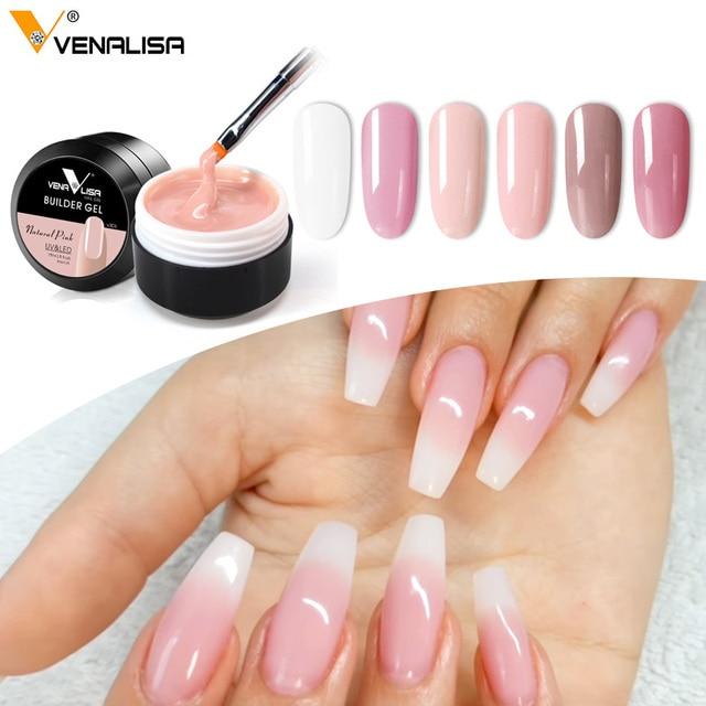Thick Builder Gel Nails Pink Venalisa New 15ml Finger Nail