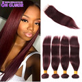 7A Malaysian Straight Hair With Closure 99J Lace Closure With Bundles Red Hair Bundles With Lace Closures 4 Bundles With Closure