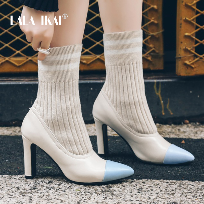 LALA IKAI Women Sock Boots High Heels Pointed Toe Leather Mixed Colors Womens Autumn Winter Shoes Ankle Boots 014C2981 -4 цены
