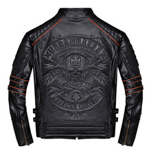 2019 Black Men Skulls Embroidery Slim Fit Biker's Leather Jacket Plus Size 4XL Real Cowhide Short Motorcycle Coat FREE SHIPPING(China)