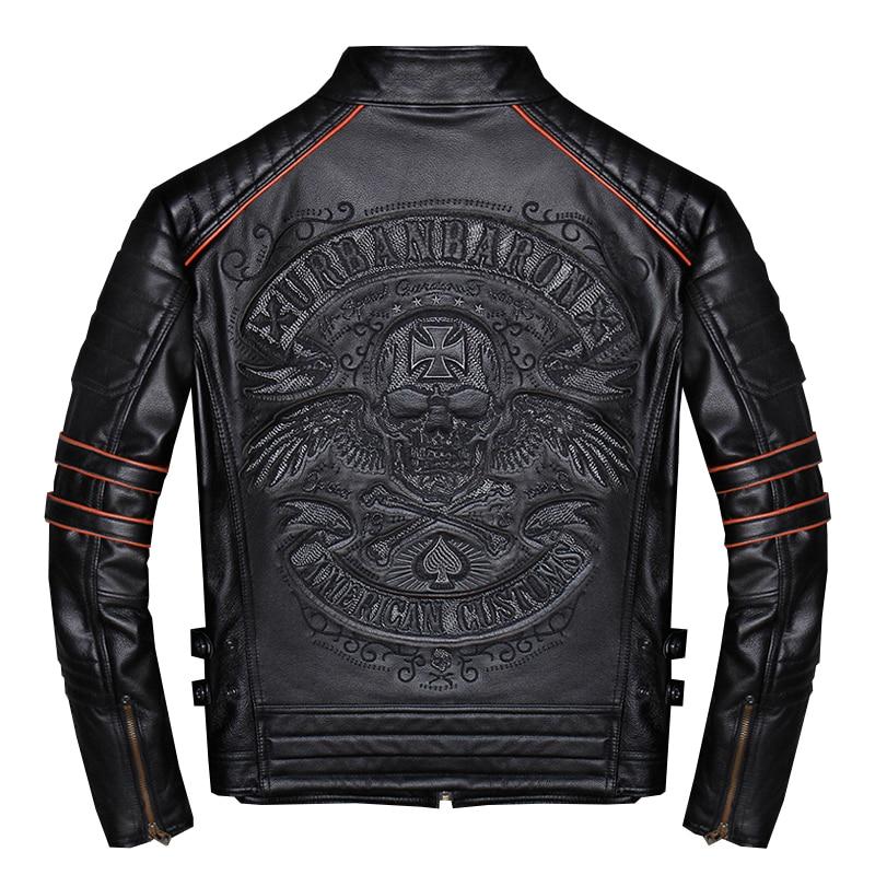 2019 Noir Hommes Crânes Broderie Slim Fit Biker veste en cuir de grande taille 4XL Réel Vache À Court manteau de moto LIVRAISON GRATUITE